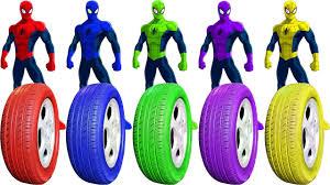 learn colors spiderman hulk frozen elsa colors tyre paint