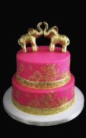 Double Golden Elephant Indian Wedding Cake Butterfly Bake Shop
