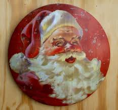 santa claus round dome tin sign christmas holiday home decor cola