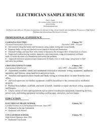 electrician description resume recentresumes