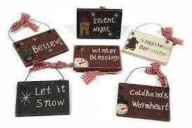 set of 6 primitive wooden sign ornaments