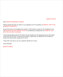 8 work resignation letter template free sample example format