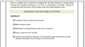 30 day notice to landlord that tenant will vacate premises on or