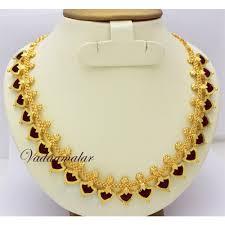 gold plated palakka mala traditional kerala necklace and earrings