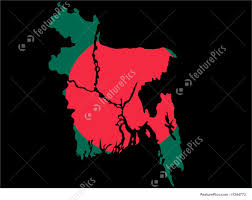 Bangladesi Flag Illustration Of Map Of Bangladesh