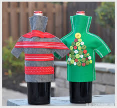 How To Decorate A Wine Bottle Diy Wine Bottle Holiday Sweaters Vicky Barone