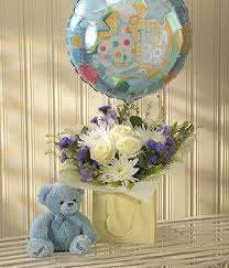 balloons and teddy delivery baby boy bouquet with balloon teddy springfield
