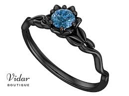 black engagement rings images Blue diamond black gold flower engagement ring vidar boutique jpg