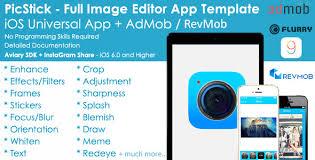 picstick ios image editor app template admob iad by appsvilla