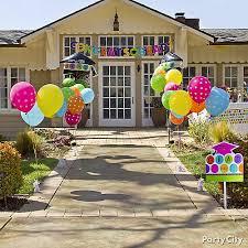 graduation balloon party entrance idea colorful graduation party