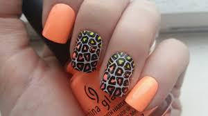 spring summer neon ombre leopard nail art advance nail stamping