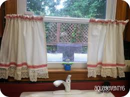 aqua seventy6 tea towel curtains with an unexpected vintage trim