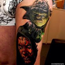 awesome yoda tattoo design for half sleeve by nikko hurtado