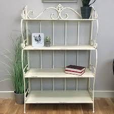 distressed shabby chic metal shelf unit vintage white farthing