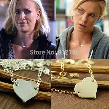 aliexpress love necklace images Celebrity style charlize theron replica gold silver heart love jpg