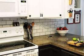 Wood Backsplash Kitchen Beige Subway Tile Backsplash White Cabinets With Black Hardware