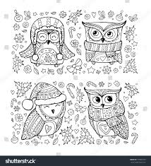 cute owls christmas set collection bow stock vector 725891824