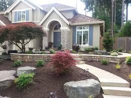 glorious backyard landscape design with iron furniture decks