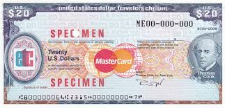 Specimen usa 20 usd thomas cook travelers check travellers cheque