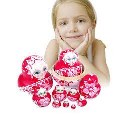 online shop 10pcs wooden matryoshka doll pink wooden russian