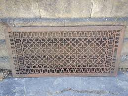 large ornate metal heat grate antique vintage cast iron decorative