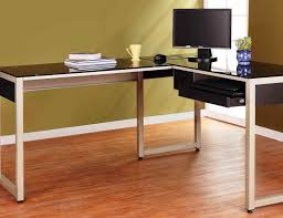 Metal L Shaped Desk Glass Office Desk With Metal Legs And Wooden Cabinet