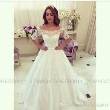 discount 2016 lace wedding dresses elegant bateau bridal gowns a
