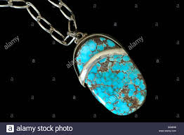 turquoise stone necklace semi precious stone necklace with turquoise stone iran stock photo