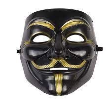 Guy Fawkes Mask Halloween by Anonymous Mask Gold Or Black Black Gold Amazon Co Uk Kitchen