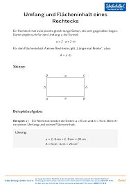 rechteck fläche berechnen umfang berechnen rechteck schülerhilfe