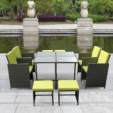 Outside Table And Chair Sets Ikayaa 9 11pcs Cushioned Pe Rattan Patio Dining Set Outdoor Table