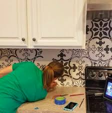 How To Tile A Kitchen Backsplash How To Stencil A Kitchen Backsplash Using A Tile Pattern Stencil