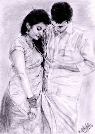 indian traditional couple pencil drawing on behance