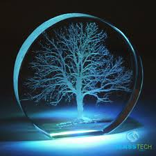 tree of laser engraved in paperweight glass laser