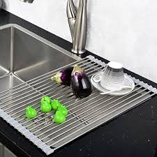 VCCUCINE Best Large Stainless Steel Kitchen Sink Roll Up Dish - Kitchen sink drying rack