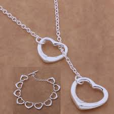bracelet sets tangled hearts sterling silver matching lariat necklace and