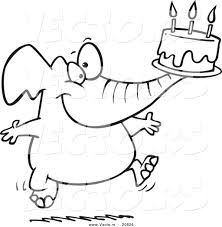 vector of a cartoon birthday elephant carrying a cake coloring