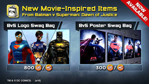 now available batman v superman swag bags plus game update 58