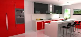 design your own kitchen using combination of red white and black