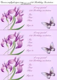 lilac butterflies and flowers 21st birthday invitations