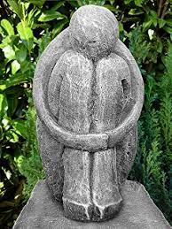 modern garden sculpture dreamer cast slate grey