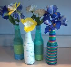 Blue Bottle Vase Decorations Futuristic Diy Colorful Cover Wine Bottle Vase For
