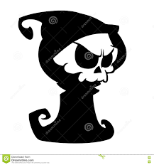 halloween white background grim reaper cartoon character isolated on a white background