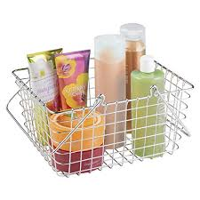 Bathroom Towel Storage Baskets by Mdesign Wire Storage Organizer Basket With Handles For Bathroom