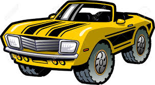 Cool Muscle Cars - cool retro yellow convertible muscle car with black stripes