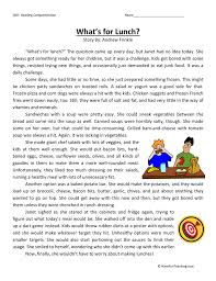 what u0027s for lunch reading comprehension worksheet