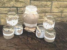 vintage tea light holders shabby chic vintage wedding decorated glass jar tea light holders