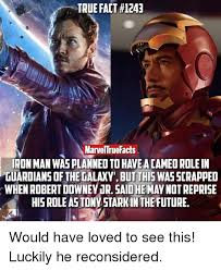 Guardians Of The Galaxy Memes - true fact 1243 marveltrue facts iron man was planneoto have