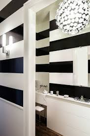 Striped Bathroom Walls Black And White Stripe Walls Contemporary Bathroom Chambers