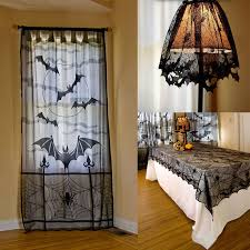 Curtain Table Halloween Home Decor Bat Spider Curtain Table Cover Lamp Cover